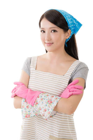 clean the house: Portrait of Asian housewife, closeup portrait on white background.