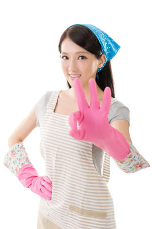 housewife gloves: Portrait of Asian housewife, closeup portrait on white background.