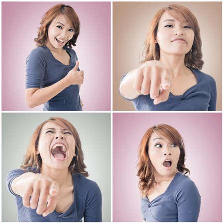 surprise face: Collection of Asian woman face, closeup portrait.