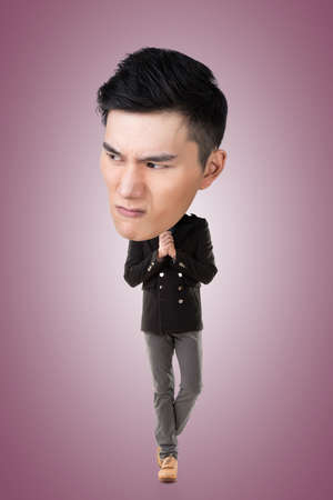angry look: Funny Asian big head man, full length portrait.