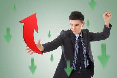 catch: Asian business catch the upward arrow, concept of growth, stock, marketing.
