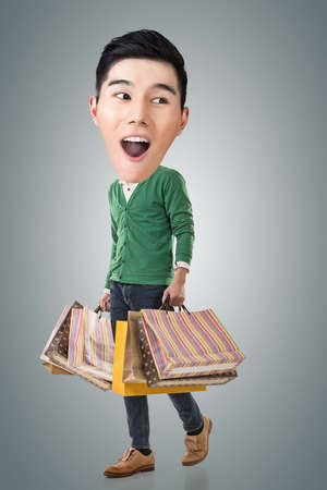 big head: Funny shopping Asian guy, full length portrait. Stock Photo
