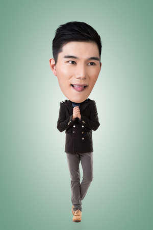 full length portrait: Funny Asian big head man, full length portrait.