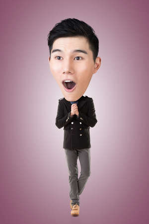 exciting: Funny Asian big head man, full length portrait.