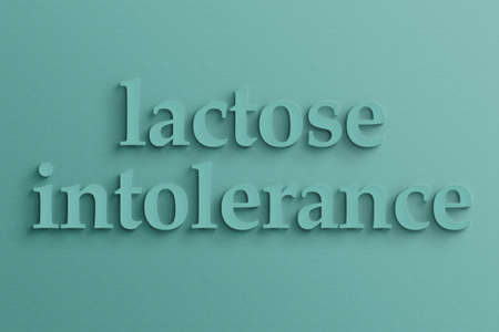 intolerancia: Texto en 3D con sombra en la pared, la intolerancia a la lactosa.