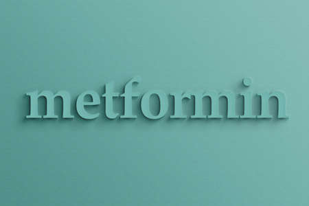 metformin: 3D text with shadow on wall, metformin . Stock Photo
