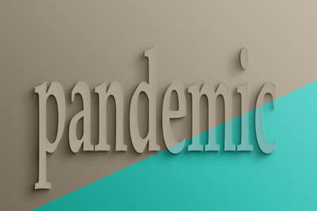 pandemic: 3D text on the wall, pandemic Stock Photo