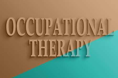 terapia ocupacional: Texto en 3D en la pared, terapia ocupacional