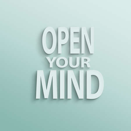 open minded: text on the wall or paper, open your mind Stock Photo