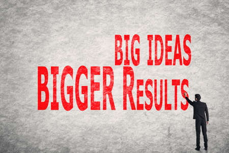 business results: Asian business man write words on wall, Big Ideas Bigger Results
