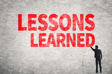 recap: Asian business man write words on wall, Lessons Learned