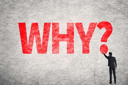 벽에 아시아 비즈니스 사람 쓰기 단어, 왜? 스톡 콘텐츠