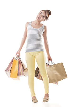 asian girl shopping: Shopping girl of Asian, full length portrait isolated on white with clipping path.