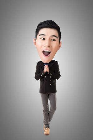 full length: Funny Asian big head man, full length portrait.