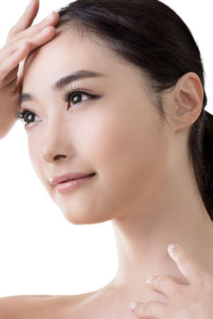 Asian beauty face, closeup portrait with clean and fresh elegant lady. Stock Photo