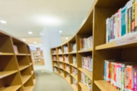 bookstore: Library bookshelves, abstract and blurred background. Stock Photo