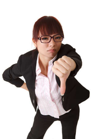 thumb down: Business woman give you thumb down sign, closeup portrait on white background. Stock Photo