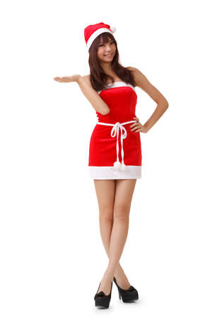 Young Asian Christmas girl, full length portrait isolated on white background. Stock Photo