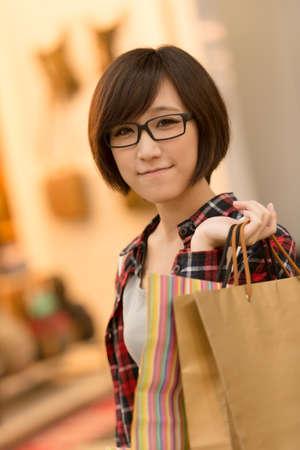 asian shopper: Shopping young girl of Asian at mall in Taipei, Taiwan.