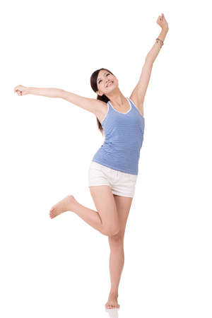healthy looking: Fitness girl stretch and feel free, full length portrait on white background.