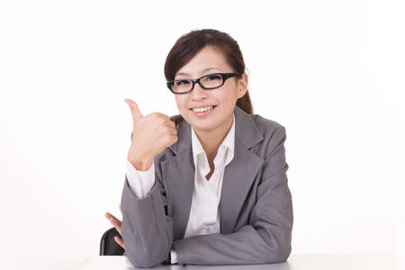 admiration: Happy smiling Asian business woman give you an excellent sign, closeup portrait on white background.