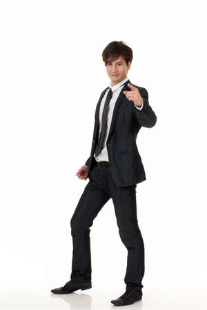 korean man: Young business man of Asian, full length portrait on white background. Stock Photo