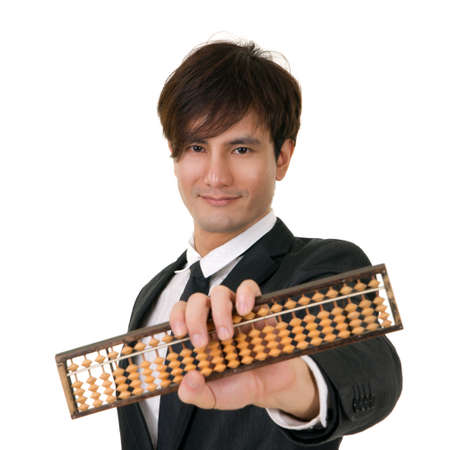 asian businessman: Portrait of you Asian business man holding Chinese traditional abacus on white background.