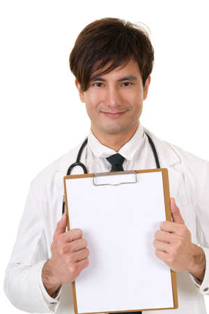 instruction sheet: Closeup portrait of Asian medicine doctor holding blank board on white background in studio.