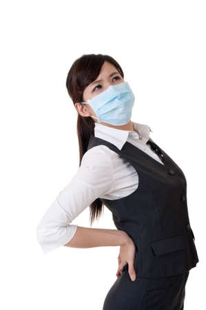 Sick business woman with mask, studio shot on white background.