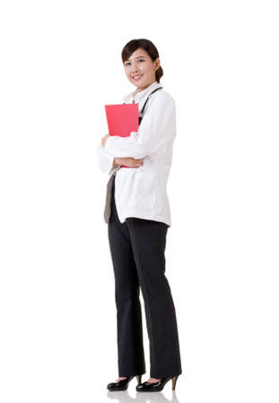 smiling doctor woman: Smiling Asian medicine doctor woman, full length portrait on white background.