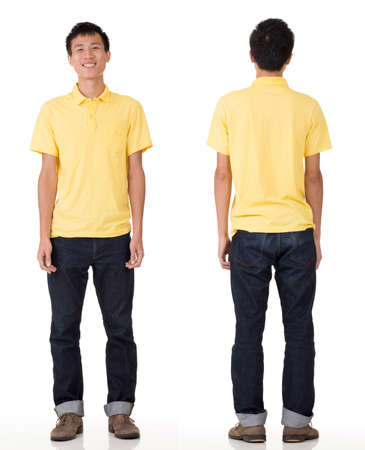 guileless: Full length portrait of young Chinese man in studio white background.