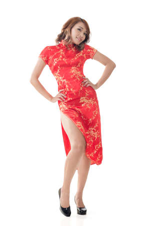 qipao: Chinese woman dress traditional cheongsam at New Year, full length portrait isolated.