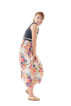 maxi: Attractive Asian woman with maxi dresses, full length isolated.