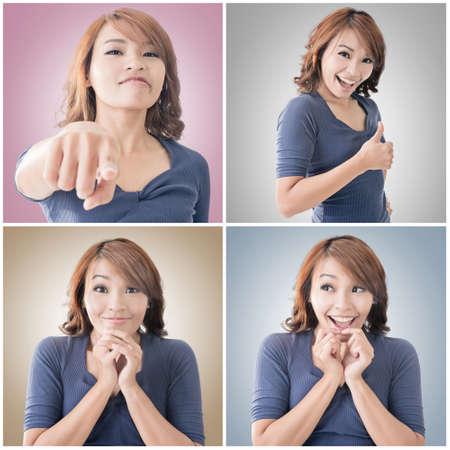 wow: Colección de cara de mujer asiática, retrato de detalle.