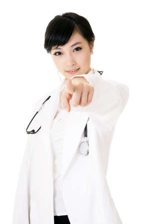 surgical coat: Closeup portrait of Asian medicine doctor woman on white background.