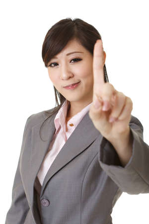 disallow: Young businesswoman give you a no gesture and smiling.