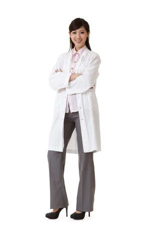Smiling Asian medicine doctor woman, full length portrait on white background.