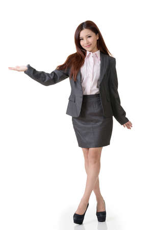 introduced: Asian business woman introduced on white background. Stock Photo