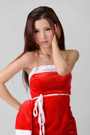 sexy young girls: Asian Christmas girl, closeup portrait on white background.