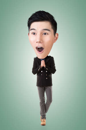 excite: Funny Asian big head man, full length portrait.