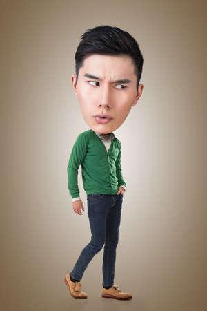 big head: Funny Asian big head man, full length portrait.