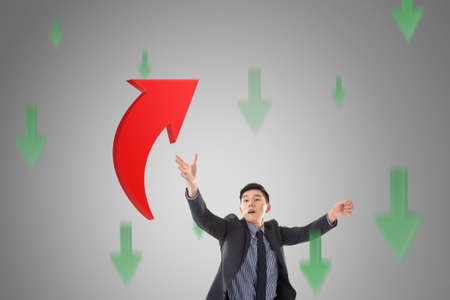 asian business: Asian business catch the upward arrow, concept of growth, stock, marketing.
