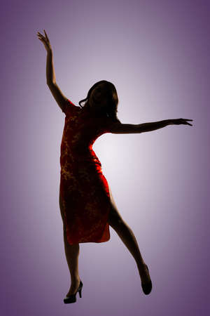sexy woman silhouette: Silhouette of Chinese woman dress traditional cheongsam at New Year.