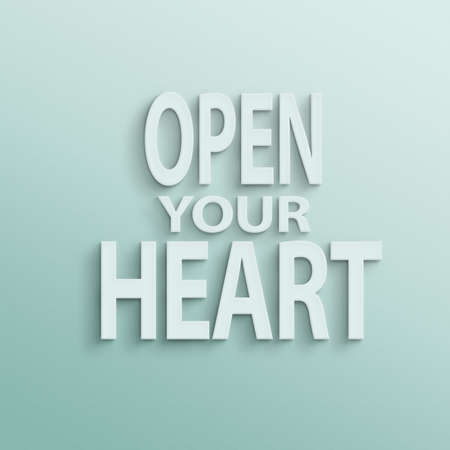 open your heart: text on the wall or paper, open your heart Stock Photo