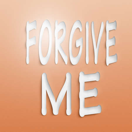 apologetic: text on the wall or paper, forgive me Stock Photo