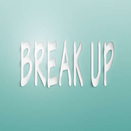 splitting up: text on the wall or paper, break up