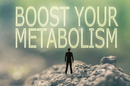 metabolic: Concept of  with a person stand in the outdoor and looking up the text over the sky in nature background.