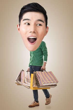 full length: Funny shopping Asian guy, full length portrait. Stock Photo