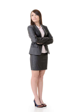 lofty: Confident business woman of Asian, full length portrait on white background. Stock Photo