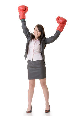 gloved: Exciting gloved business woman on white background.